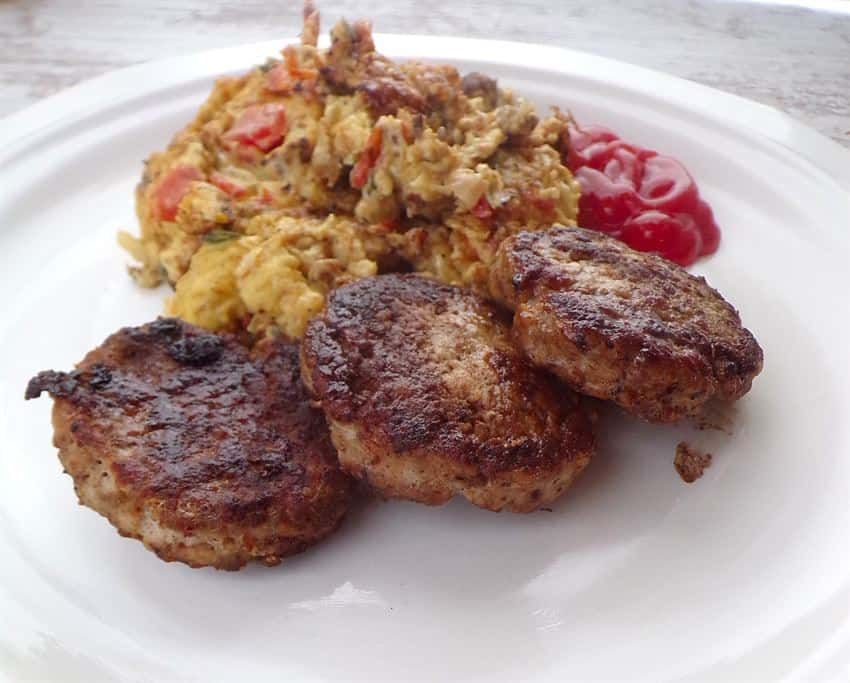 Sausage patties with scrambled eggs
