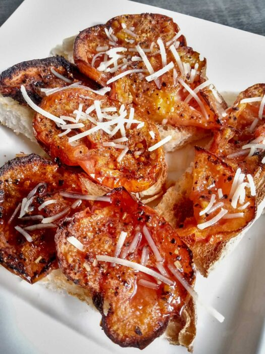 Low sodium roasted tomatoes with Parmesan sprinkle