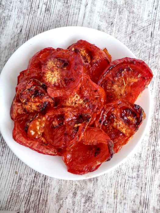 Roasted tomatoes are slightly charred